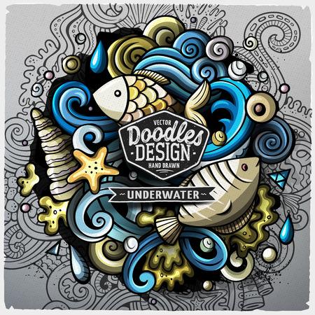 Undersea life cartoon vector doodle illustration