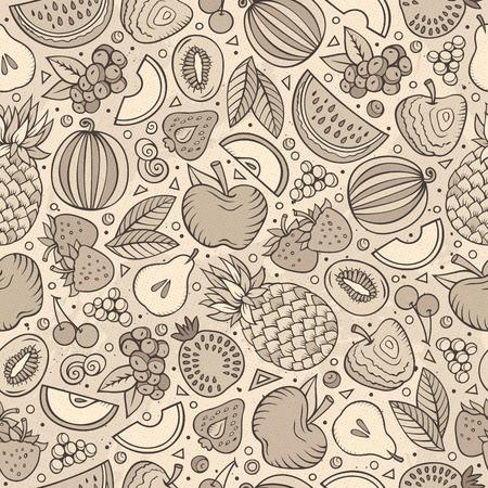 Cartoon hand-drawn Diet food seamless pattern