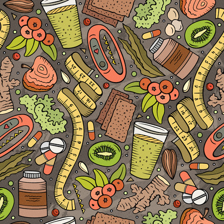 Cartoon hand-drawn Diet food seamless pattern. Lots of symbols, objects and elements. Perfect funny vector background. Imagens - 100218333