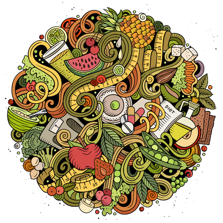 Cartoon vector doodles Diet food round illustration. Colorful, detailed, with lots of objects background. All objects separate. Bright colors dietary funny picture