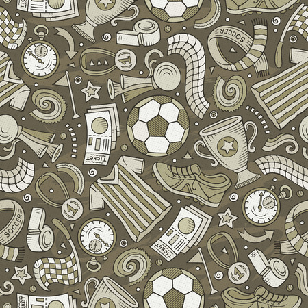 Cartoon hand-drawn Soccer seamless pattern. Lots of symbols, objects and elements. Perfect funny vector background. Ilustração