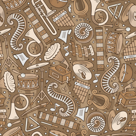 Cartoon hand-drawn Classic music seamless pattern. Lots of symbols, objects and elements. Perfect funny vector background. Ilustrace