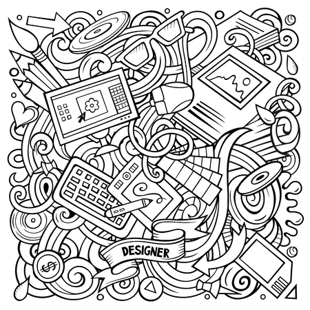 Cartoon vector doodles Art and Design illustration. Line art, detailed, with lots of objects background. All objects separate. Contour drawing artistick funny picture