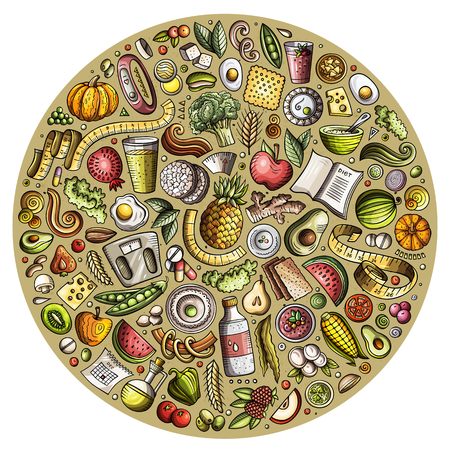 Set of vector cartoon doodle Diet food objects collected in a circle. Dietic subjects collection Illustration