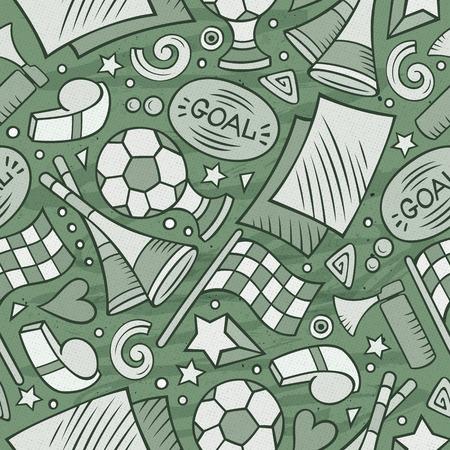 Cartoon hand-drawn Soccer seamless pattern Banco de Imagens