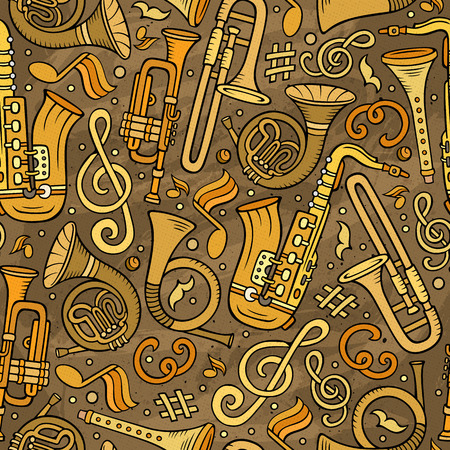 Cartoon hand-drawn Classic music seamless pattern Banque d'images - 100580324