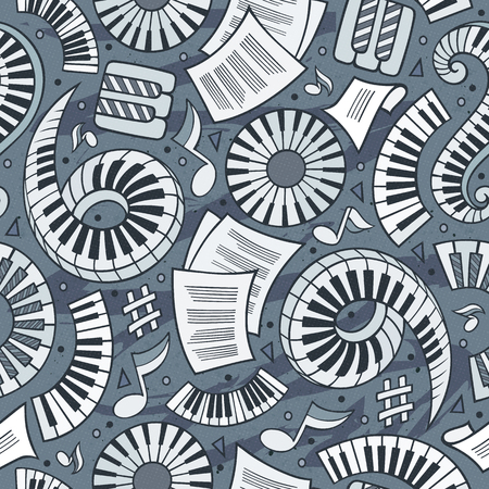 Cartoon hand-drawn Classic music concept in seamless pattern.