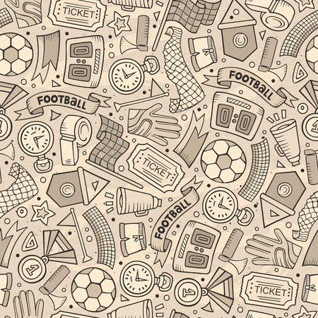 Cartoon hand-drawn soccer concept in seamless pattern.