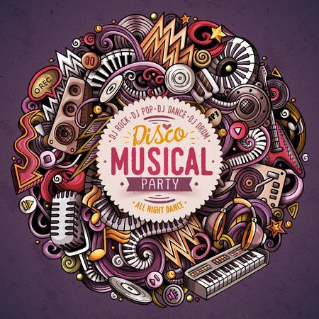 Cartoon hand-drawn disco music party concept illustration.  イラスト・ベクター素材