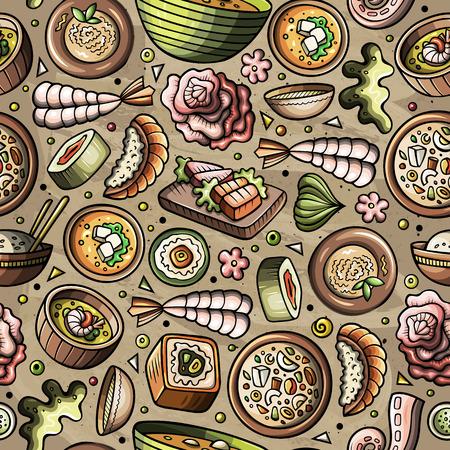Cartoon hand-drawn Japan cuisine concept in seamless pattern.