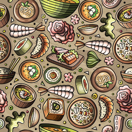 Cartoon hand-drawn Japan cuisine concept in seamless pattern.