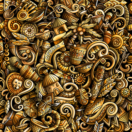 Cartoon cute doodles hand drawn Africa seamless pattern Illustration