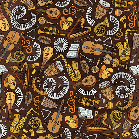 Cartoon hand-drawn Classic music seamless pattern Banque d'images - 100476924