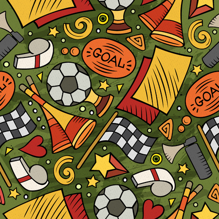 Cartoon hand-drawn Soccer seamless pattern Vector illustration.