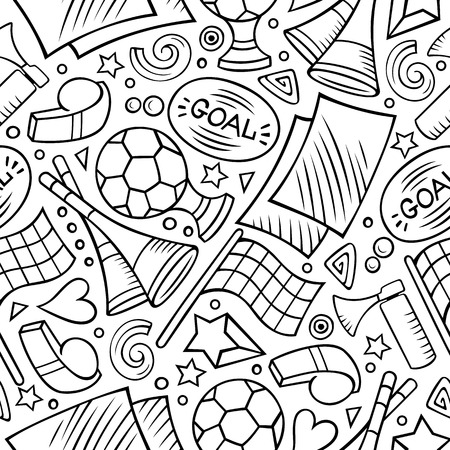 Cartoon hand-drawn Soccer seamless pattern Vettoriali