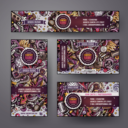 Corporate Identity vector templates set design with doodles hand drawn Disco music theme