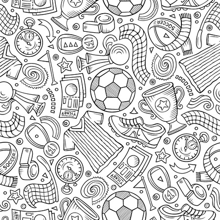 Cartoon hand-drawn Soccer seamless pattern Ilustracja