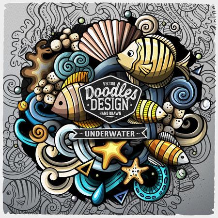 Undersea life cartoon vector doodle illustration design.