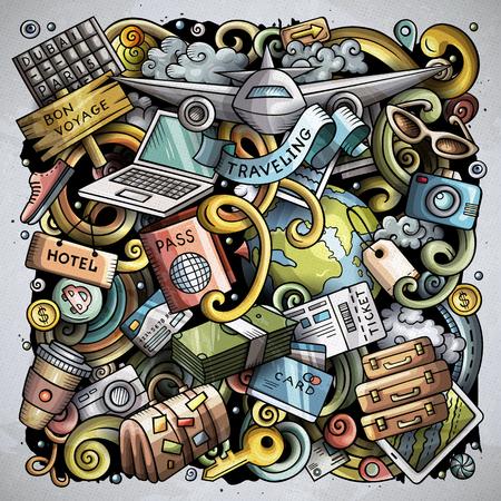 Cartoon vector doodles Travel illustration design.  イラスト・ベクター素材