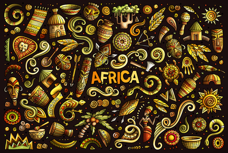 Vector doodle cartoon set of Africa objects