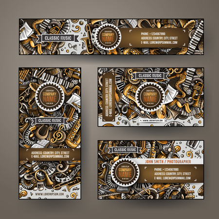 Corporate Identity vector templates set design with doodles hand drawn Classic music theme. Stock Illustratie