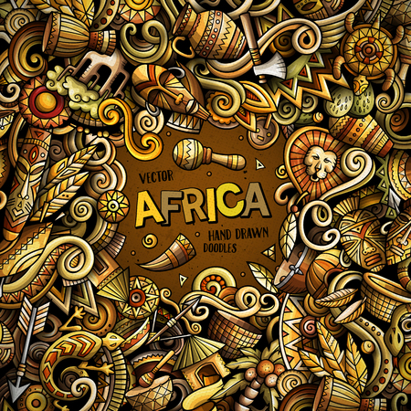 Cartoon vector doodles Africa frame illustration. Colorful, detailed, with lots of objects background. All objects separate. Bright colors african culture funny border