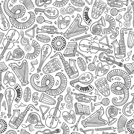 Cartoon hand-drawn Classic music seamless pattern. Lots of symbols, objects and elements. Perfect funny vector background. Illustration