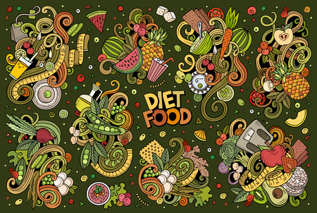 Vector doodles cartoon set of Diet food combinations of objects and elements Illustration