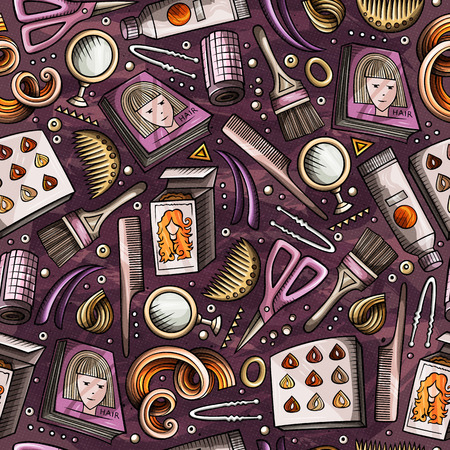 Cartoon hand-drawn Hair salon seamless pattern. Lots of symbols, objects and elements. Perfect funny vector background. Illustration