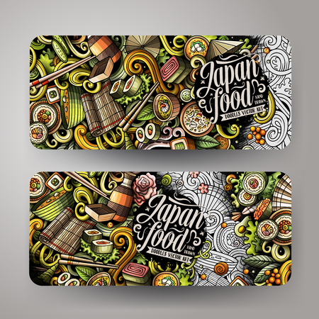 Cartoon cute colorful vector hand drawn doodles japanese food corporate identity. 2 orizontal banners design. Templates set