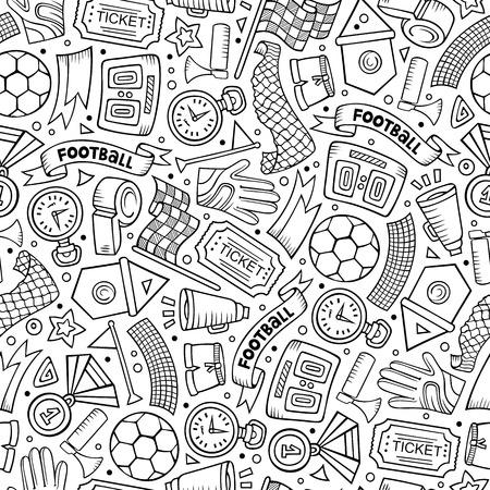 Cartoon hand-drawn Soccer seamless pattern Ilustrace