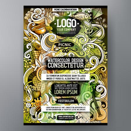 Cartoon watercolor hand drawn doodles Picnic poster design template