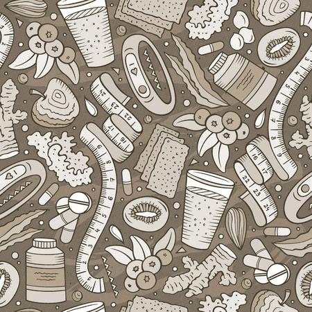 Cartoon hand-drawn, Diet food seamless pattern illustration.