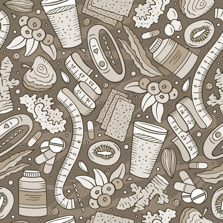Cartoon hand-drawn, Diet food seamless pattern illustration.