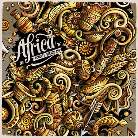 Cartoon vector doodles, Africa illustration design.