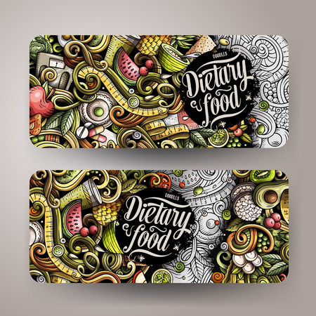 Cartoon cute colorful vector hand drawn doodles. Diet food vertical banners. Illustration