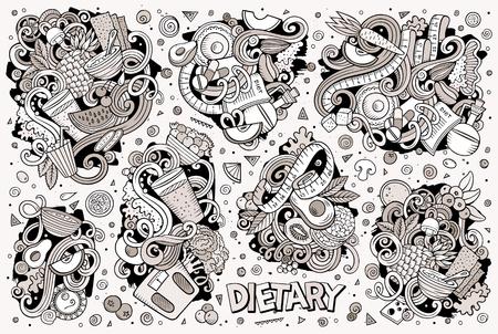 Line art hand drawn doodles cartoon set of Diet food Illustration