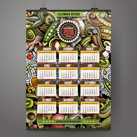 Cartoon colorful hand drawn doodles Diet food 2018 year calendar Illustration