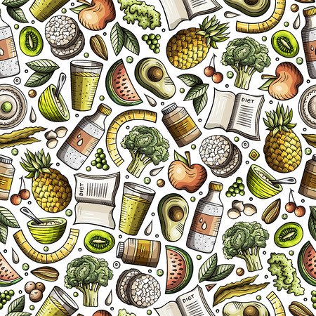 Cartoon hand-drawn Diet food seamless pattern