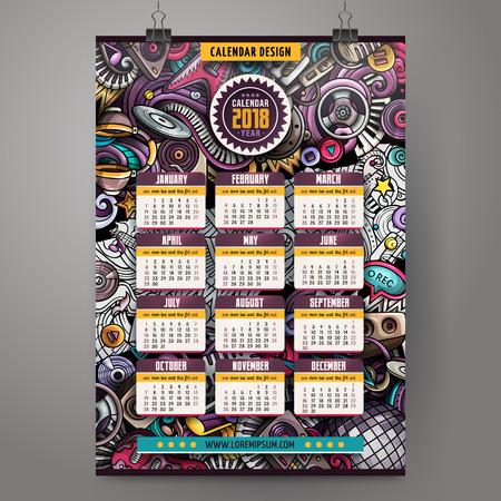 Cartoon colorful hand drawn doodles Disco music 2018 year calendar