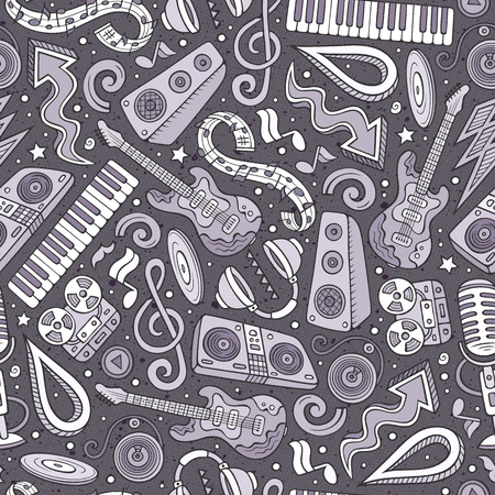 Cartoon hand-drawn Disco music seamless pattern Illustration