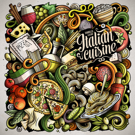 Cartoon vector doodles Italian Food illustration Иллюстрация