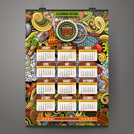 Cartoon colorful hand drawn doodles Picnic 2018 year calendar 向量圖像