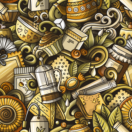 Cartoon cute doodles hand drawn Tea House seamless pattern Illustration