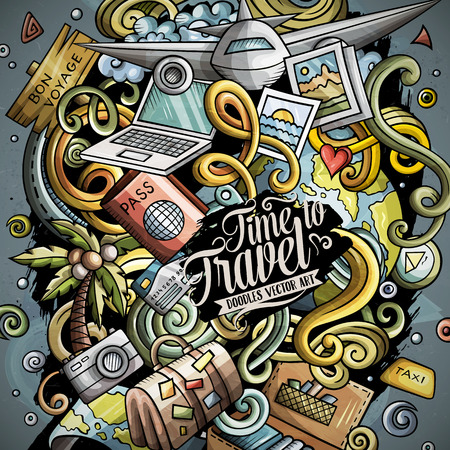 Cartoon vector doodles Travel illustration 矢量图像