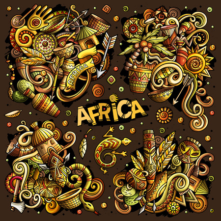 Colorful vector hand drawn doodles cartoon set of Africa combinations of objects and elements Ilustração