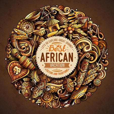 Cartoon vector doodles Africa illustration Illustration