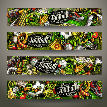 Cartoon vector doodles Football horizontal banners Ilustracja