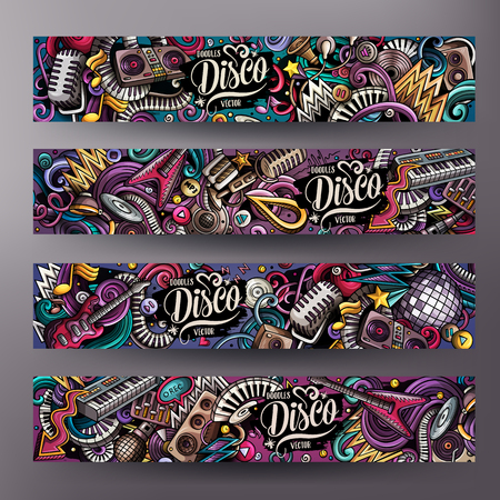 Cartoon cute colorful vector hand drawn doodles Disco music horizontal banners Ilustrace