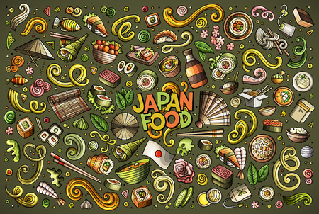 Vector cartoon set of Japan food objects